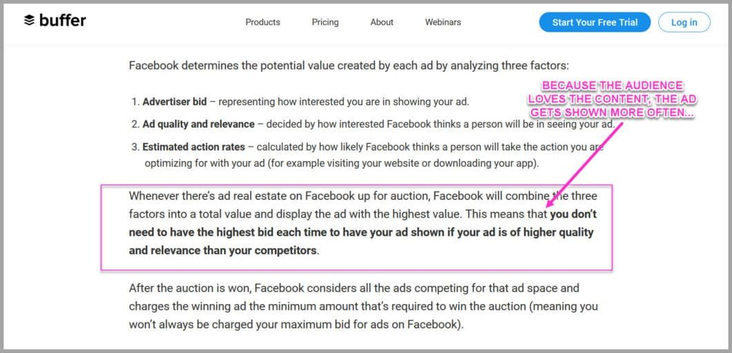 When you provide high value content, facebook shows it more often and charges you less...